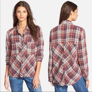 Free People Lace Up Shoulder Plaid Flannel Snap Up
